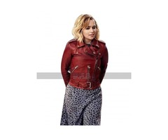 Last Christmas Emilia Clarke Red Leather Jacket For Women's