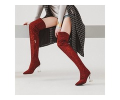 Pointed Toe Chunky Heel Womens Thigh High Boots
