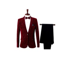 Print Blazer Pants Slim Fit Mens Two Pieces Dress Suit