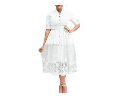 Patchwork Lace Mid-Calf High Waist Womens Maxi Dress