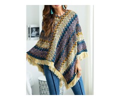 Autumn Winter Patchwork Knit Pullover Tassel Sweater Coat