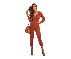 2019 Red Striped Wrap V Neck Long Sleeve Striped Cleavage Bandage Bodycon Jumpsuits | free-classifieds-usa.com