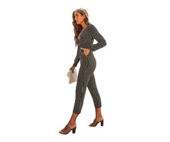 Black Striped Wrap V Neck Long Sleeve Jumpsuit for Woman | free-classifieds-usa.com