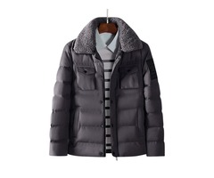 Mens Winter Thick Warm Fur Lapel Quilted Padded Jacket