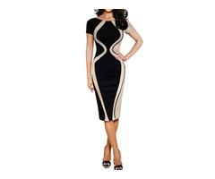 Patchwork Mid-Calf Color Block Womens Pencil Dress
