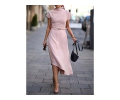 Short Sleeve Turtleneck Asymmetric Womens Dress