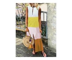Mid-Calf Split Sleeveless Pullover Womens Casual Dress