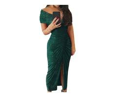 Fashion Off Shoulder Ruched slit Party Formal Dress Ladies Evening Midi Dress