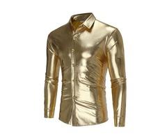 Lapel Plain Long Sleeve Mens Shirt
