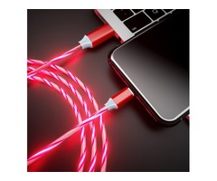1M Magic LED Glow Flowing Type C Fast Charging Cable for Samsung Xiaomi Huawei Type-C Interface Smar