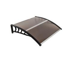 HT-100 x 100 Door  Window Rain Cover Eaves Brown Board  Black Holder