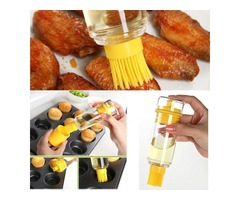 Creative Dual-purpose High-temperature Resistance Portable Silicone Brush with Oil Bottle for Outdoo
