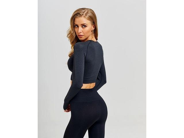 Women Seamless Long Sleeve Gym Clothing Fitness Leggings+Cropped Shirts Sport Set | free-classifieds-usa.com
