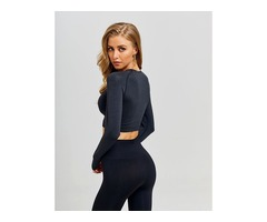 Women Seamless Long Sleeve Gym Clothing Fitness Leggings+Cropped Shirts Sport Set