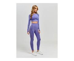Long Sleeve Seamless Yoga Tank Top Pants Leggings Set Women   free-classifieds-usa.com