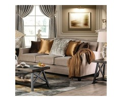Buy Furniture of America Camilla Transitional Sofa Putty Online