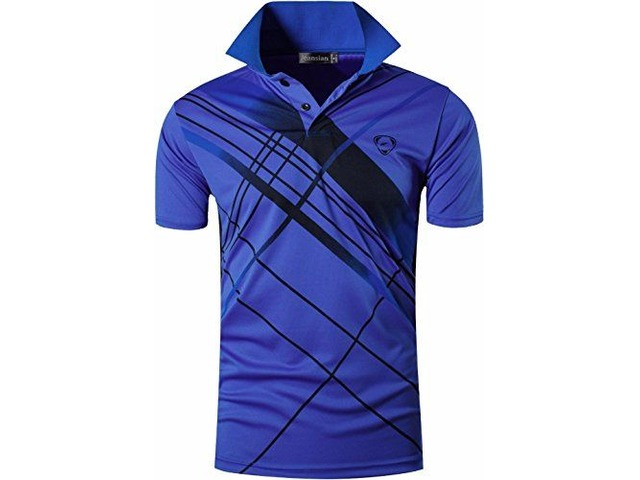 jeansian Men's Sport Quick Dry Short Sleeves Polo Tee T-Shirt LSL226 Blue L | free-classifieds-usa.com