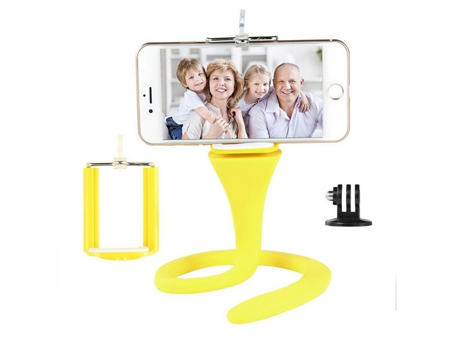 360° Universal Flexible Selfie Stick Monopod with Remote Control for GoPro iPhone Smartphone - Yello | free-classifieds-usa.com