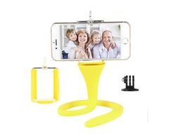 360° Universal Flexible Selfie Stick Monopod with Remote Control for GoPro iPhone Smartphone - Yello