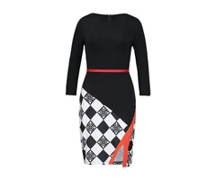 Knee-Length Oblique Collar Plaid Womens Bodycon Dress