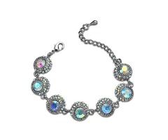 Round Iridescence Rhinestone Silver Korean Bracelets   Bangles
