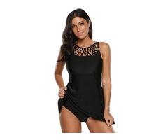 Plus Size Hollow Black Plain One Piece Swimwear