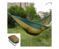 Travel Camping Outdoor Parachute Nylon Fabric Hammock for Double Army Green  Brown