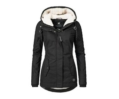 Slim Hooded Long Sleeve Plain Zipper Womens Jacket