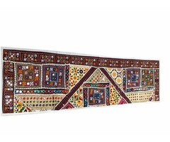 Sari Patchwork Table Runner Mirror work Sequin Embroidery Tablecloth