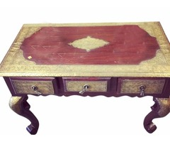 Antique Side Table with Brass Accent Carving Indian Solid Wood