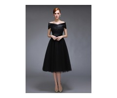 Off-the-Shoulder Lace Tea-Length Evening Dress