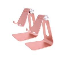 2pcs Universal Desktop Stand Holder Mount Adjustable Aluminum Holder Rose Golden