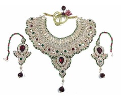 Ethnic Indian Bollywood Jewelry Set Red Green Polki Necklace