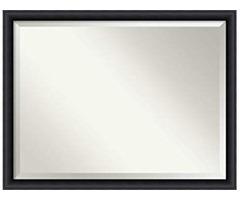 Amanti Art Vanity Bathroom Wall | Intaglio Embossed Black Frame | Solid Wood Mirror |, Glass Size 36