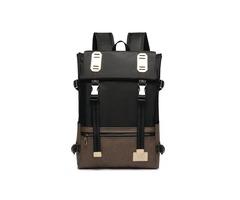 Belt-Decorated Color Block Oxford Backpack