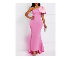 Sleeveless One-Shoulder High Waist Elegant Womens Maxi Dress