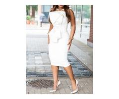 Patchwork Mid-Calf Sleeveless Strapless Flare Sleeve Womens Dress