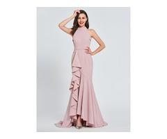 Trumpet High Neck Ruffles Evening Dress 2019