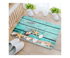 40x60cm Kitchen Bedroom Bathroom Non-Slip Carpet Wood Starfish Pedestal Rug Floor Mat