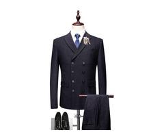 Double-Breasted Plain 3 Pieces Mens Dress Suit