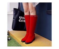Faux Suede Rivets Hidden Heel Slip-On Womens Boots