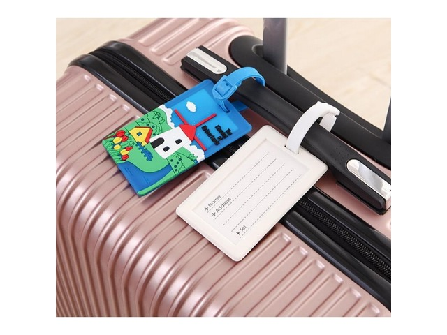 Plastic PVC Luggage Tags Travel Suitcase Labels Business Card Holder with Adjustable Strap - Blue wi | free-classifieds-usa.com