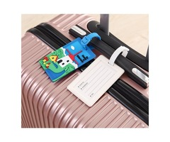 Plastic PVC Luggage Tags Travel Suitcase Labels Business Card Holder with Adjustable Strap - Blue wi
