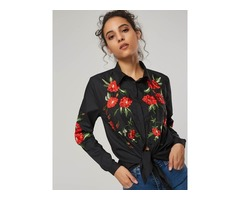 Floral Embroidery Long Sleeve Lapel Womens Shirt
