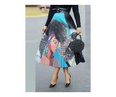Print Color Block Mid-Calf Pleated High Waist Womens Skirt