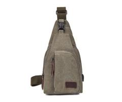 Canvas Sling Backpack Multifunction Sling Shoulder Bag Army Green - L