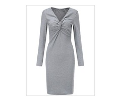Shop Fall V-Neck Twisted Casual Sweater Dress for Women Online