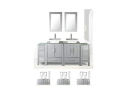 Double Sink Grey Bathroom Vanity Modern Design Glass Top W/Mirror Faucet&Drain