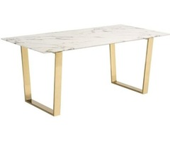 Zuo Atlas Modern Dining Table in Stone & Gold