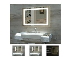 HAUSCHEN 32 X 40 Inch LED Lighted Bathroom Wall Mounted Mirror